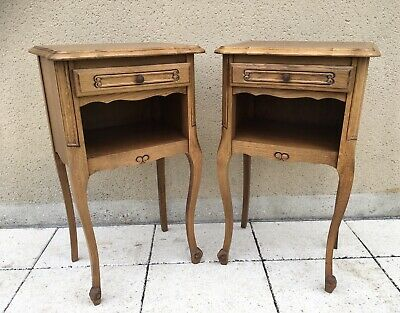 Vintage French Light Oak Louis XV Style Cabinets Bedside Tables Nightstands