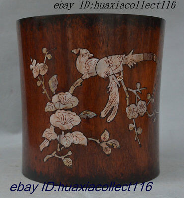 "8"" Rre Chinese Palace Huali Wood Inlay Shell 2 Bird Flower Brush Pot Pencil Vase"