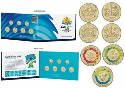 Post Free - 2018 Commonwealth Games Uncirculated Set Of 7 Coins In Folder
