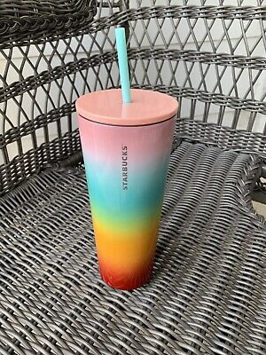 🌈NEW Starbucks Stainless Pastel Rainbow Pride Steel Tumbler with Straw VENTI