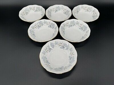 Royal Albert Silver Maple Fruit Dessert Nappy Bowls Set Of 2 Bone China England
