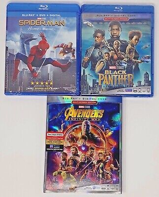 Spider-Man: Homecoming, Black Panther & Avengers Infinity War (Blu-ray/Digital)