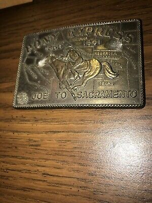 Pony Express Mail Collectible Vintage Belt Buckle Solid Brass Horse Us