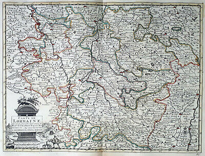 France Lorraine 1735 Van Der Aa Covens & Mortier Colored Copper Engraved Map