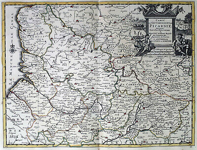 France Picardie 1735 Van Der Aa Covens & Mortier Colored Copper Engraved Map