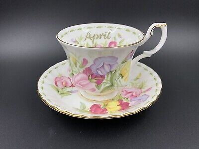 Royal Albert Sweet Pea Flower Of Month Tea Cup and Saucer Set Bone China England