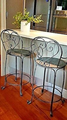 FRENCH bar stool silver black CHAIR WROUGHT IRON QUALITY NEW solid metal 14 kg