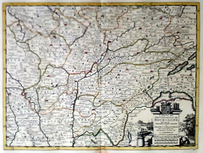 France Bourgogne 1735 Van Der Aa Covens & Mortier Colored Copper Engraved Map
