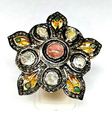 Uncut/Rose Cut Diamond Victorian Ring-925 Solid Silver Antique Ruby Emerald Ring
