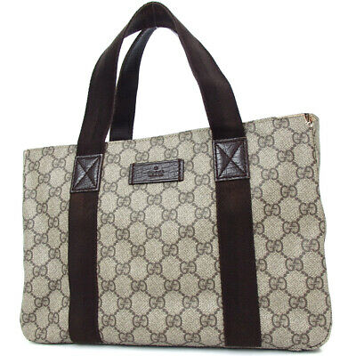 38e097afcb75 Authentic GUCCI 141976 GG Supreme GG Plats Tote bag PVC canvas/Leather[Used]