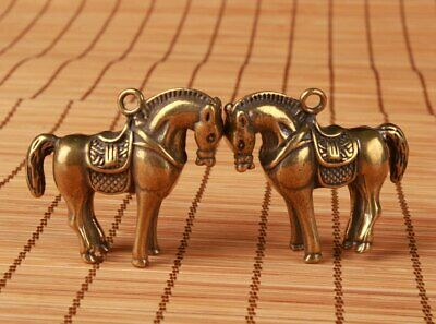 2 Chinese Bronze Hand Casting Horse Figurines Statues Pendant Good Luck Gift