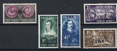 SOUTH WEST AFRICA 1952 - Van Riebeeck - Set of 5 - MLH - SG144/148 SEE SCANS.