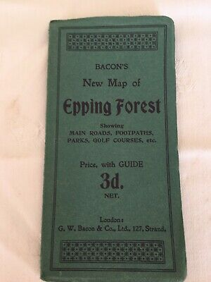 BACON'S New Map of Epping Forest, main roads, footpaths, parks, golf courses etc