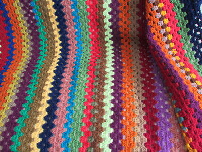 Granny Blanket - Magnificently Huge!  Hand Crafted, Multicoloured, Vintage New!