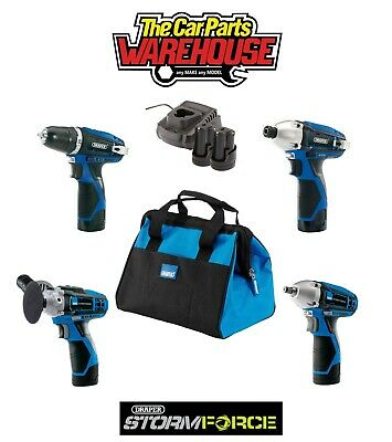 Draper Cordless KIT IMPACT DRIVER DRILL WRENCH POLISHER CHARGER BAG 2 x BATTERY