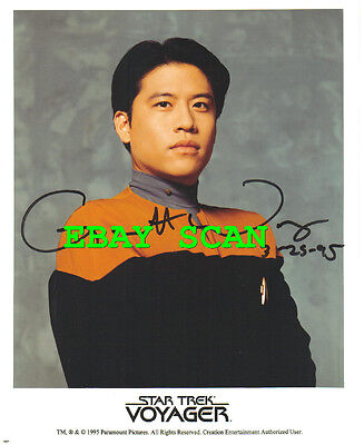 1995 Star Trek Hand Signed Autograph Photo of Garrett WANG as Ensign Harry Kim