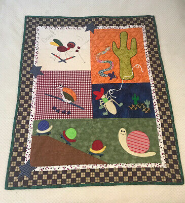 """Cute Bugs"" Handmade Patchwork Baby Cot Quilt  - Unisex - Nursery Gift -"