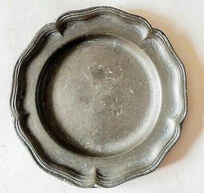 Tiny Pewter Plate Plate c.1920