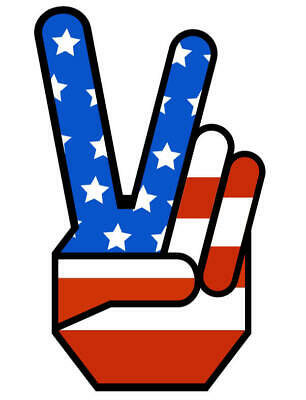 1960's PEACE SIGN VINTAGE DECAL USA FLAG JEEP, RATROD, HONDA, CHEVY,FORD