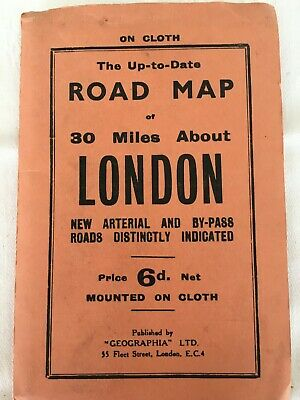 The Up-to-Date Road Map of 30 miles about London on Cloth