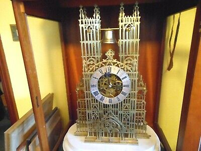 Antique Skeleton Clock,Cathedral,Double Fusee,Skeleton Clock,Antique Clock.
