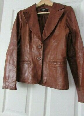 Vintage Tom Wolfe Ladies Real Leather Jacket, Tan, Lovely Patena. Size 12. VGC