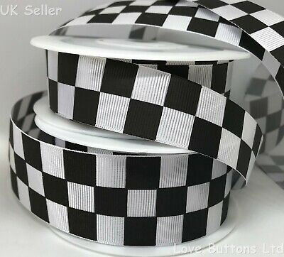"CHEQUERED FLAG 22MM 7//8/"" Grosgrain Ribbon Craft Bow Sewing Sport Metre Yard RB69"