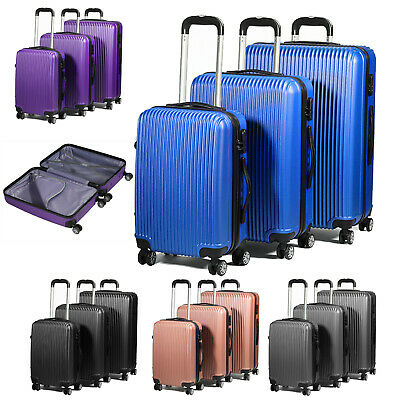 3 Piece Lightweight Extra Strong ABS Luggage Set - Cabin Size Included - S/M/L