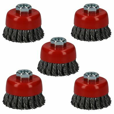 """5pc Professional 80mm Wire Twist Knot Cup Brush for 4-1/2"""" M14 Angle Grinders"""