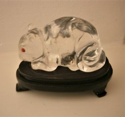 Glass Mouse With Red Eyes On Wooden Stand