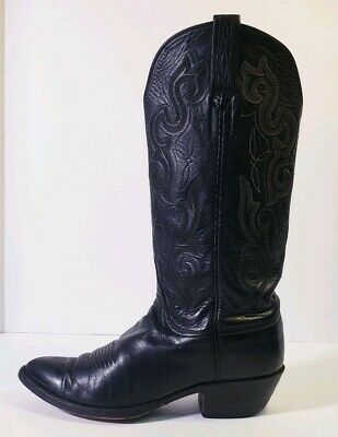 8e60a680851 LUCCHESE BLACK LEATHER Embroidered Cuff Tall Women Cowboy Pull-On ...