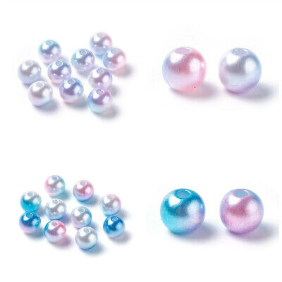 100pcs ABS Plastic Imitation Pearl Beads Round  Rainbow Colorful Style