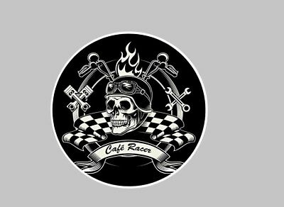 Cafe Racer Motorcycle 100mm decal Sticker Cafe Racer tank Fairing checkered flag