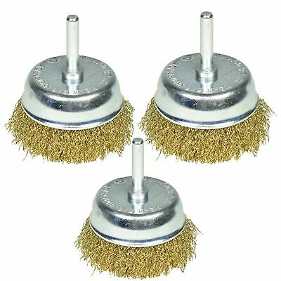 3 Pack 75mm Wire Cup Brush for Drills Steel Brass Coated Rust Paint Remover