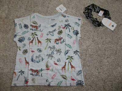 NWT Gymboree Girls Camp Must Haves Zebra Earth Crop Top Shirt Size M 7 8
