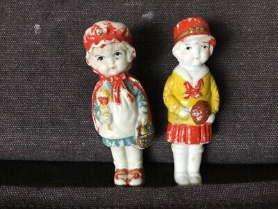 Lot of 2 Vtg Antique Bisque Frozen Charlotte Dolls, Japan