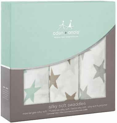 Aden + Anais SILKY SOFT SWADDLES 3 PACK MILKY WAY Baby Bedding Blankets BNIP