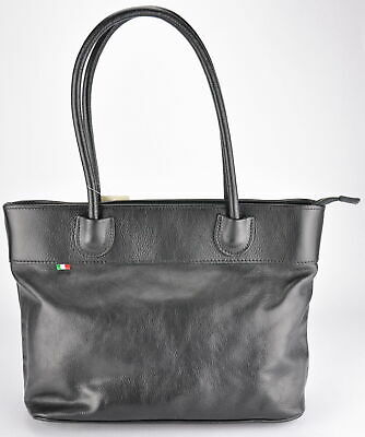 NWT woman genuine leather shoulderbag high quality bag made in Italy BLACK