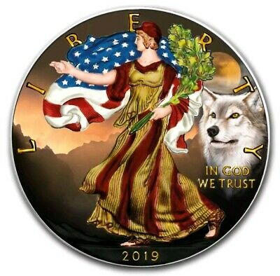2019 AMERICAN EAGLE WOLF COLORIZED 1oz .999 COIN - MINTAGE 100 PCS - BOX & COA