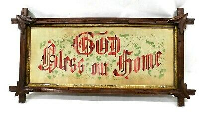 Victorian(?) Antique Punch Paper MOTTO SAMPLER - God Bless Our Home