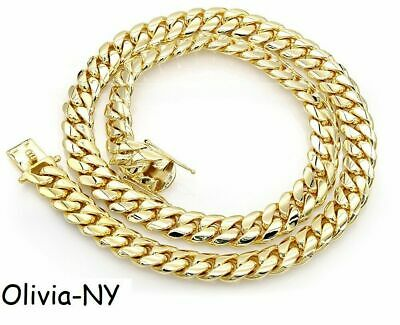 .925 Sterling Silver Solid Miami Cuban Curb Link Necklace Yellow Gold 5mm 30''