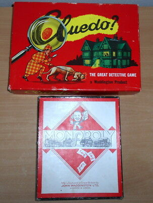 CLUEDO  & MONOPOLY VINTAGE BOARD GAMES  BY WADDINGTONS. NO BOARD. 1950/60s