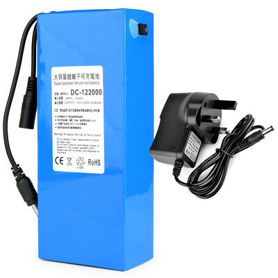 12V DC Battery Pack Rechargeable Li-ion Battery Polymer Lithium +Charger