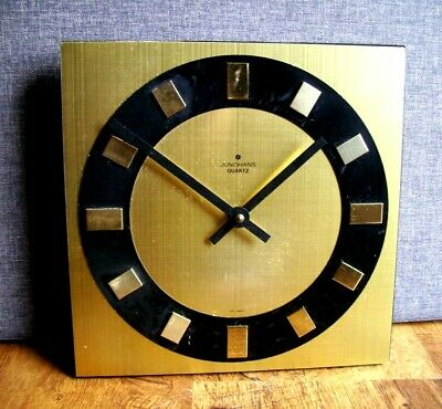 Vintage 1960's Black and Gold Junghans Wall Clock (Gilt Quartzmaster Battery)