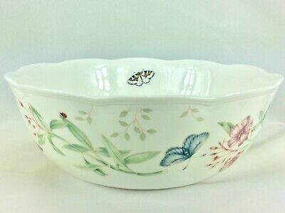 Lenox Butterfly Meadow Large Serving Vegetable Bowl Scalloped Floral Pink Green