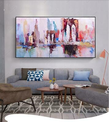 Ya849 100% Hand-Painted Abstract Scenery Oil Painting On Canvas City Unframed