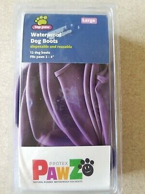 PawZ (LARGE) Protex Dog Boots Water-Proof Paws Disposable Reusable-PURPLE