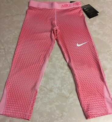NEW!!! Girls Nike Pro Tight Fit Capri Leggings , Pink Print Size Large - NWT