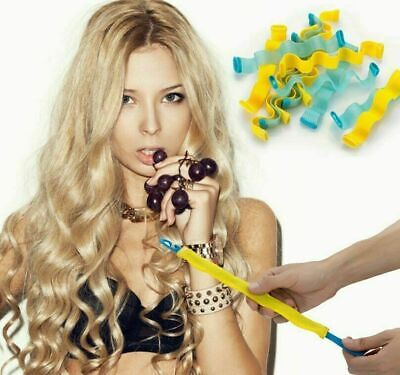 12pcs Water Wave Magic Curlers Formers Leverage Spiral Hairdressing Tool 25-65cm