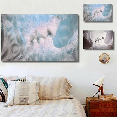 4 Size Abstract Black Blue Love Kiss Canvas Wall Print Paintings Framed